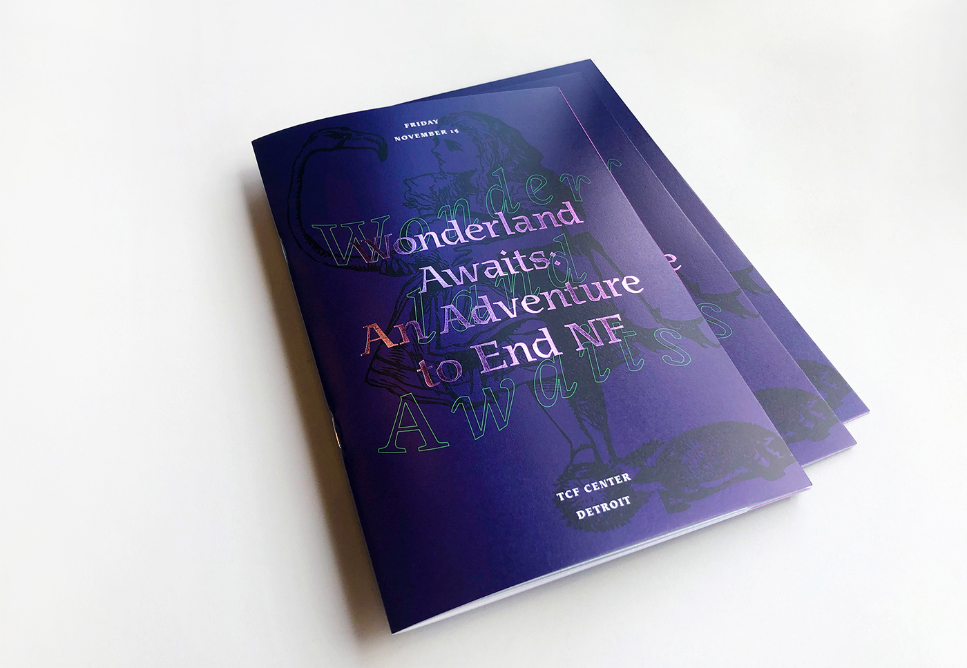 Invitation wonderland alice book ILLUSTRATION  colorful invite Gala foil elegant