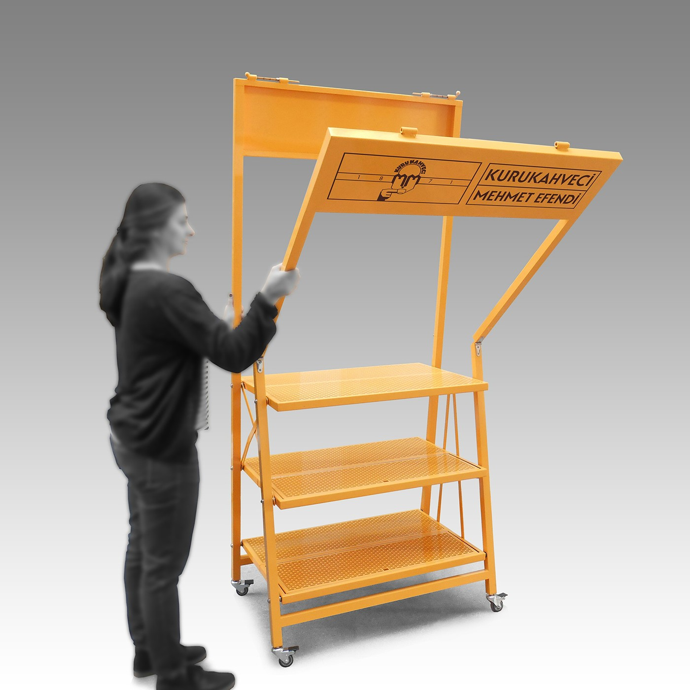 Promotion ypsilontasarim ypsilon tasarim istanbul Coffee Stand perforated Foldable flexible mobile Turkey yellow light kurukahveci mehmet efendi mokka