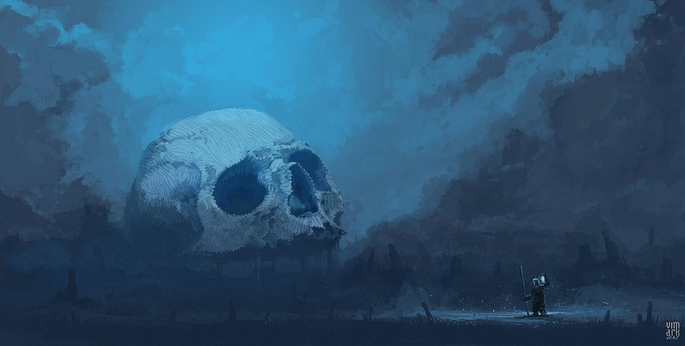 2D cube death Digital Art  Drawing  manhunt skull surreal vimark War