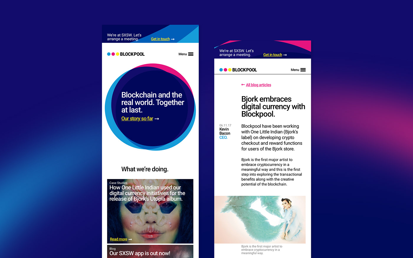 blockchain homepage article editorial typography