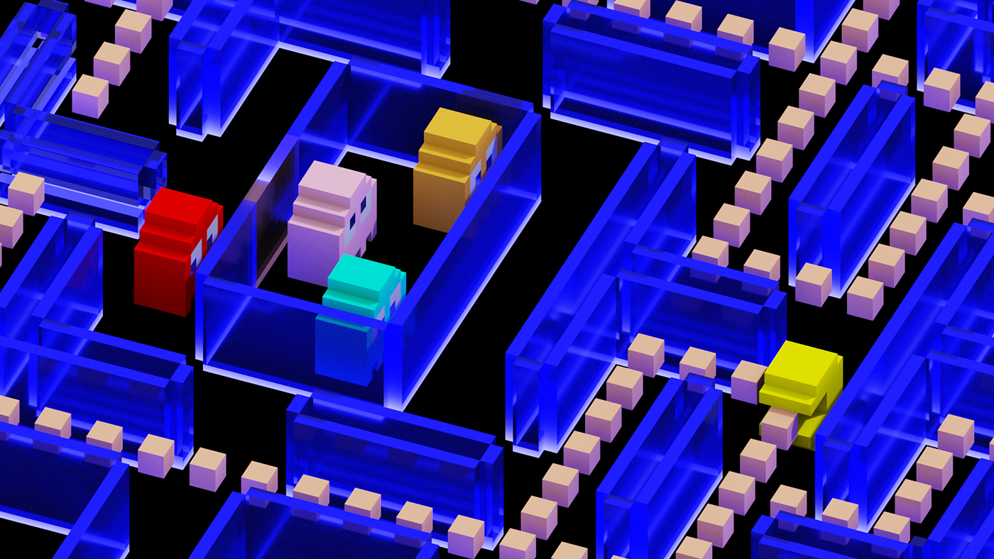 Pac-Man Retro gaming Magicavoxel voxel art voxels 3d animation voxel animation