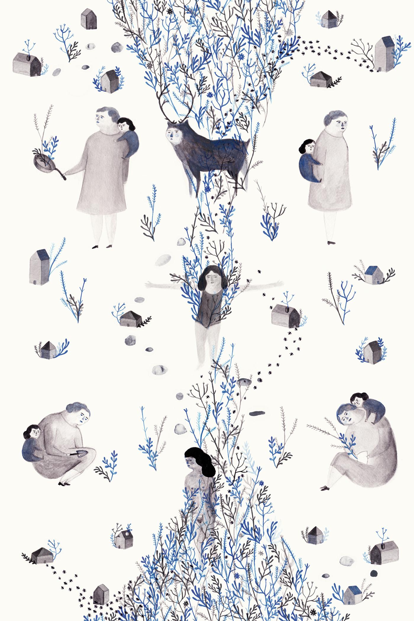memories souvenirs childhood enfance gouache print pattern motif UQAM ILLUSTRATION