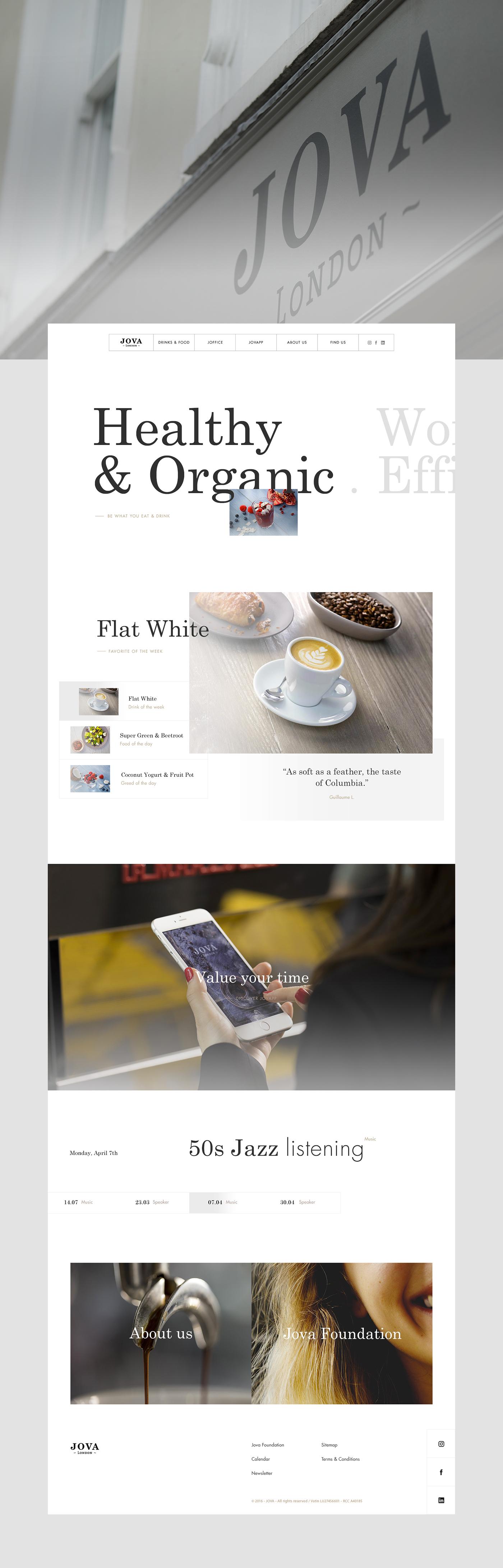 restaurant Website Webdesign London minimalist White product mobile Coffee animation
