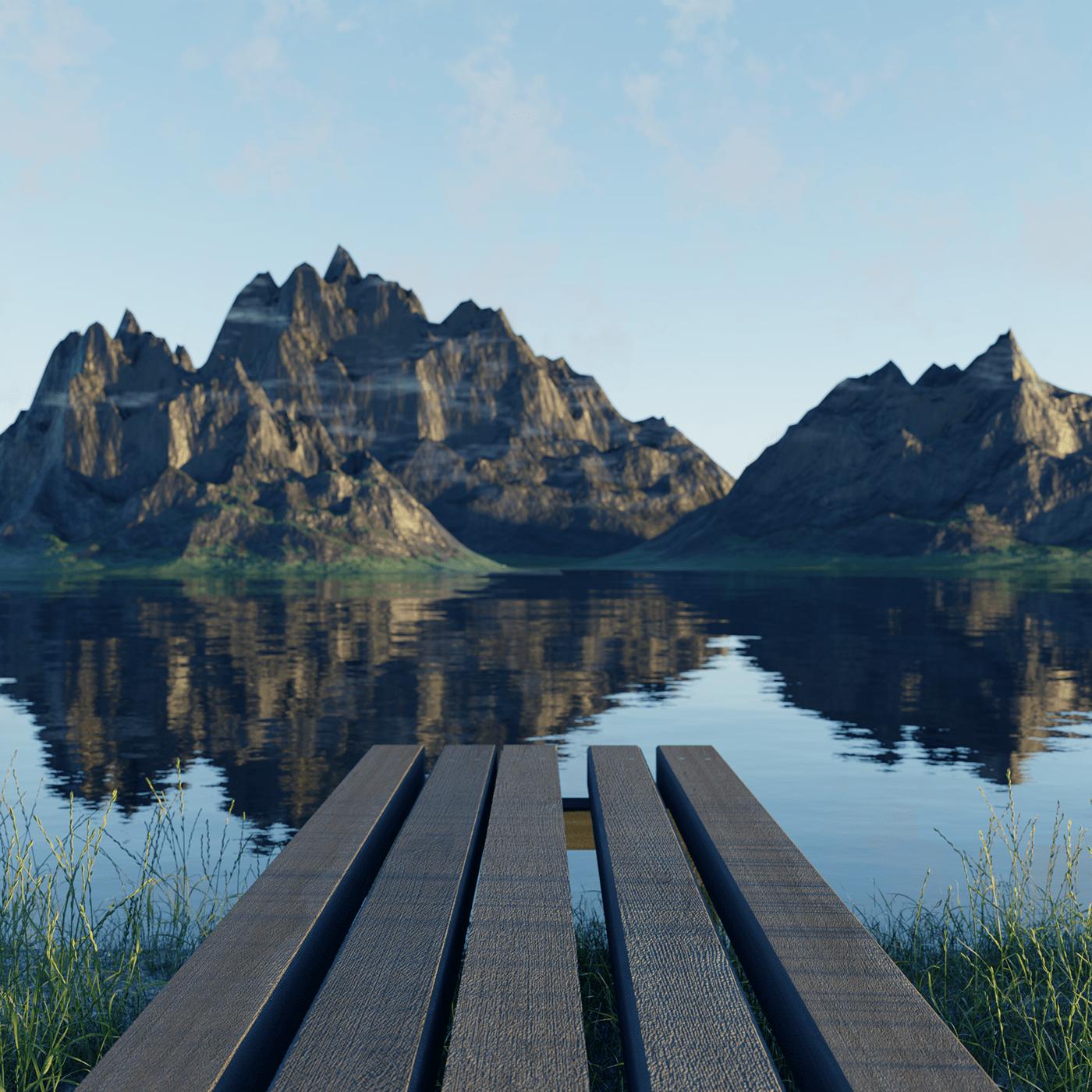3drender blender lake mountain Render
