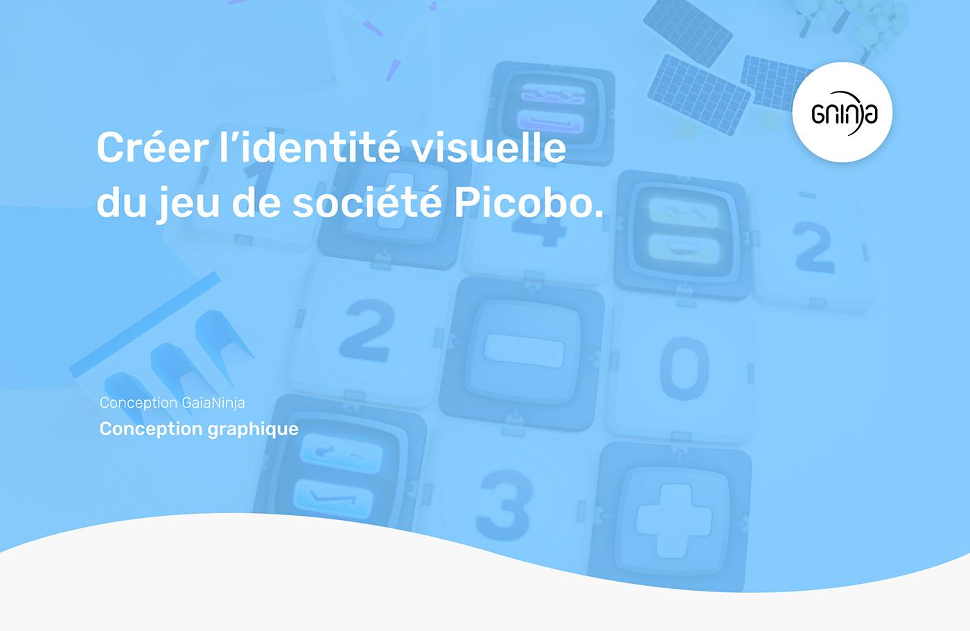 Identité visuelle du jeu de société Picobo.