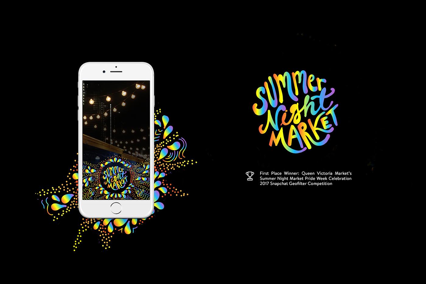 snapchat Geofilter pride LGBT Queen Victoria Market summer night market rainbow Melbourne Australia