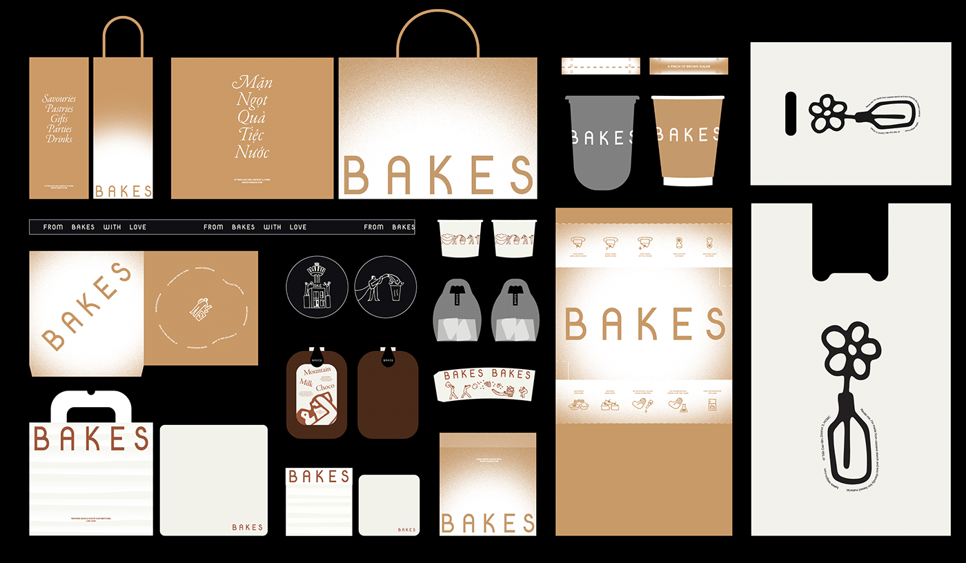 bakery bakes branding  cafe font identity ILLUSTRATION  interior design  Packaging