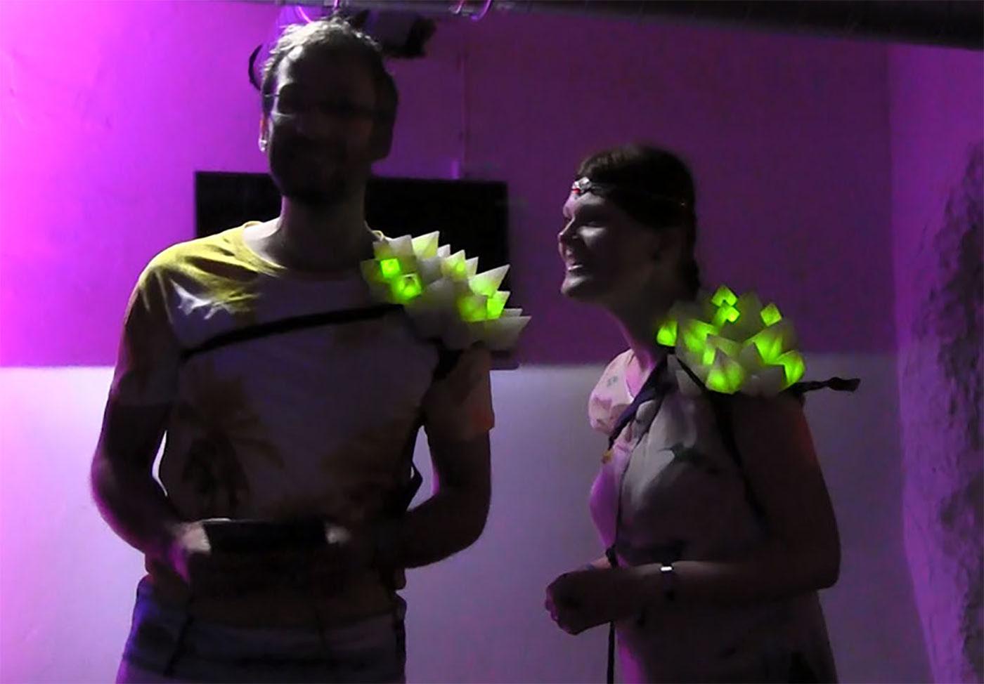 art science nacht groningen matching shoulder piece IR Sensor interactive light Love