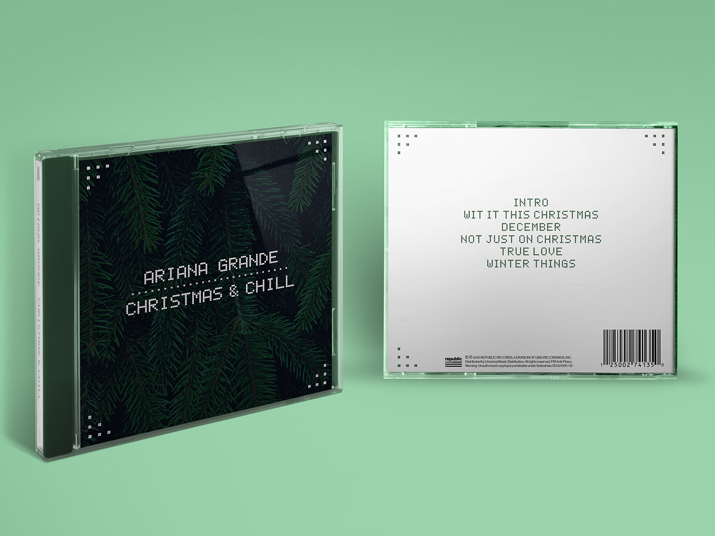 physical cd packaging design based on the official cover art of ariana grandes 2015 ep christmas chill - Christmas Chill