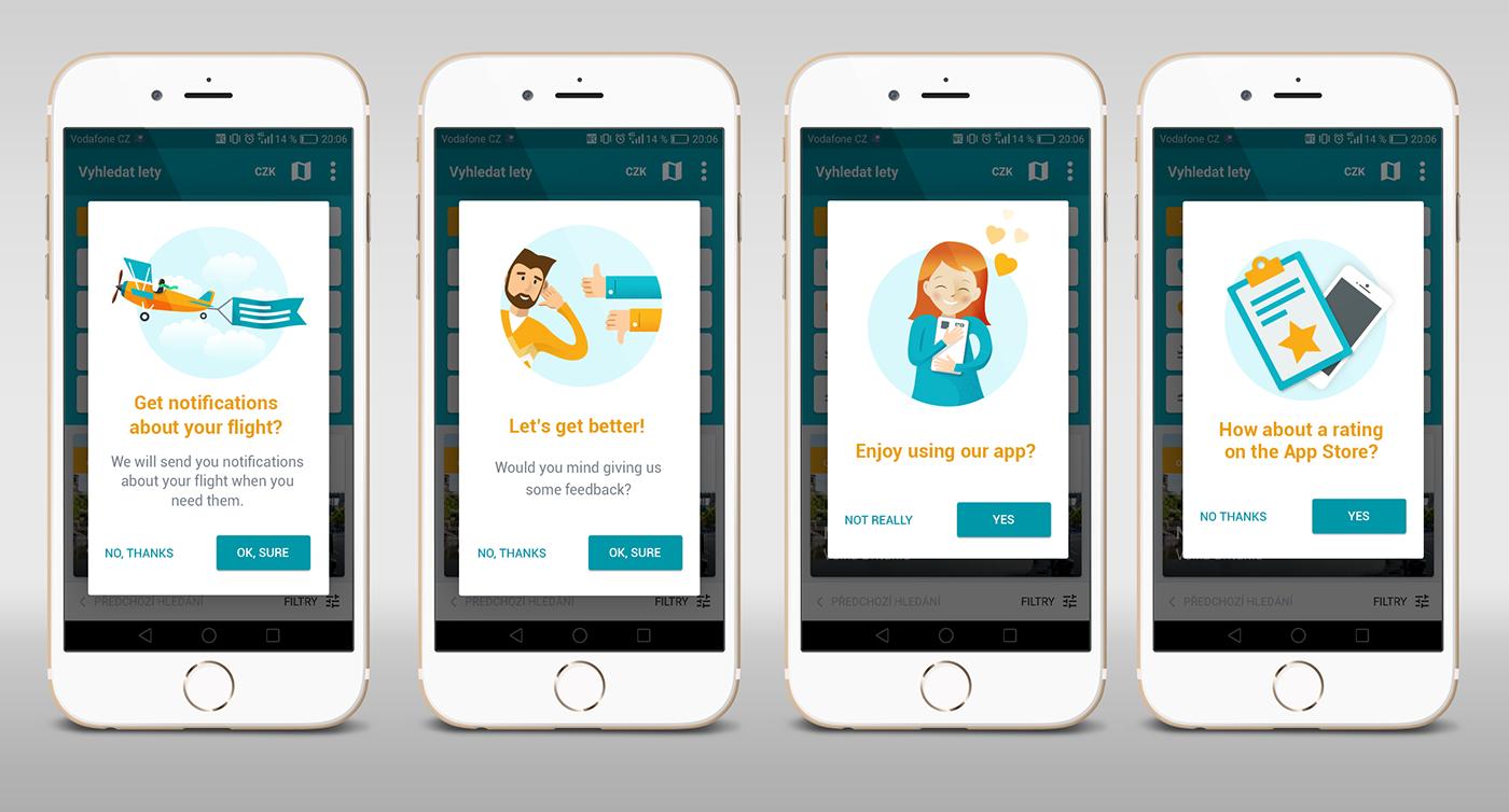 ILLUSTRATION  kiwi mobile notification pop-up rating app feedback