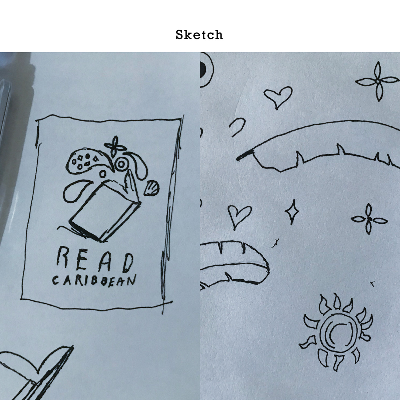 The rough initial sketches for Read Caribbean