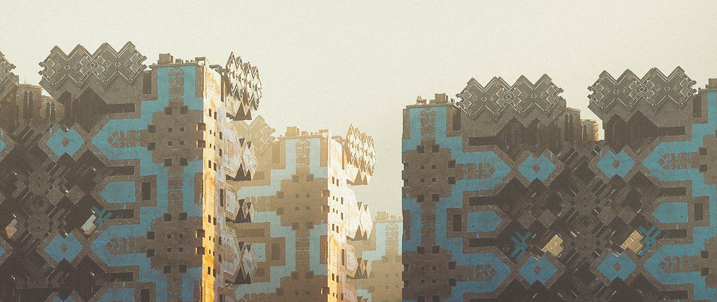 architecture Brutalism cityscape concept art constructivism environment occult saint sebastian Sun weird