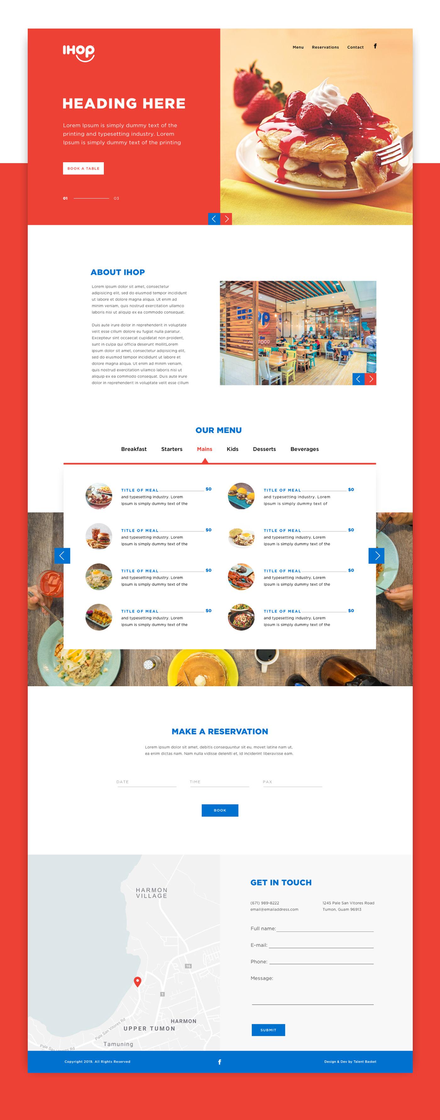 ihop Restaurant Website landing page menu Food Website UI ux Webdesign Website restaurant