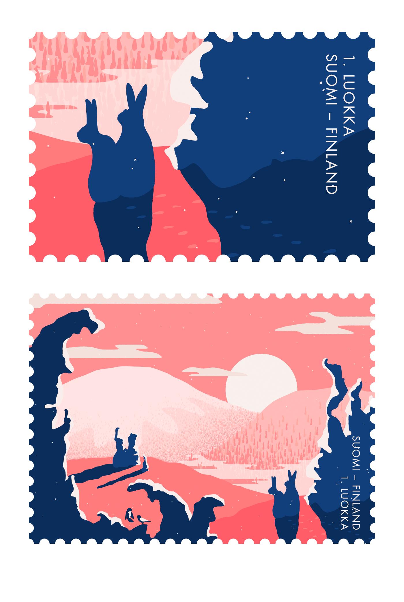 stamp postal stamp ILLUSTRATION  scenery Lapland finland sunset winter snow Nature