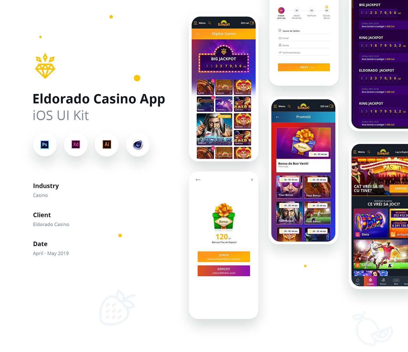 casino ui mobile design Mobile UI mobile app casino mobile web casino ui kit casino design