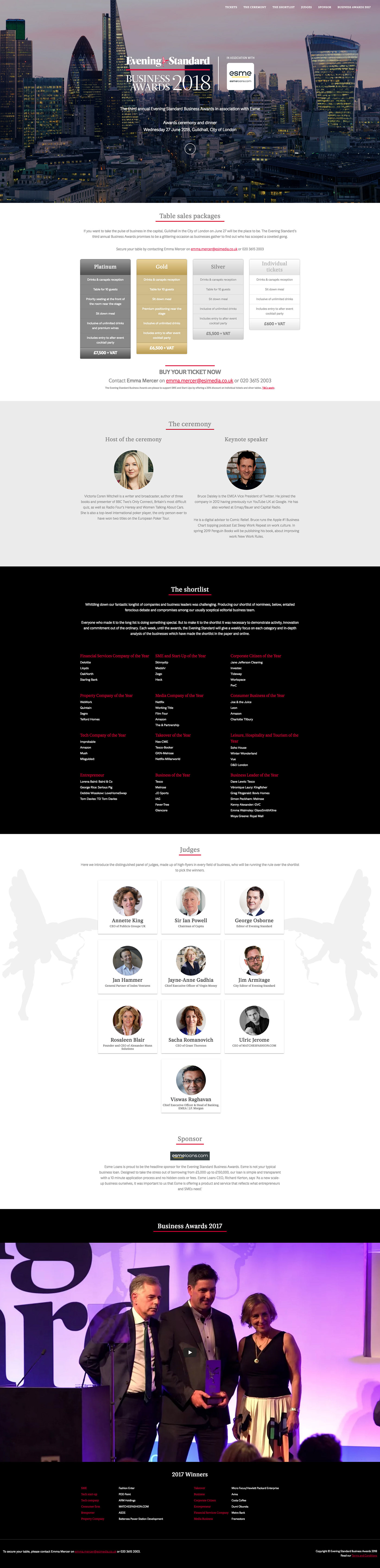 Website Web Design  Business Awards Evening Standard