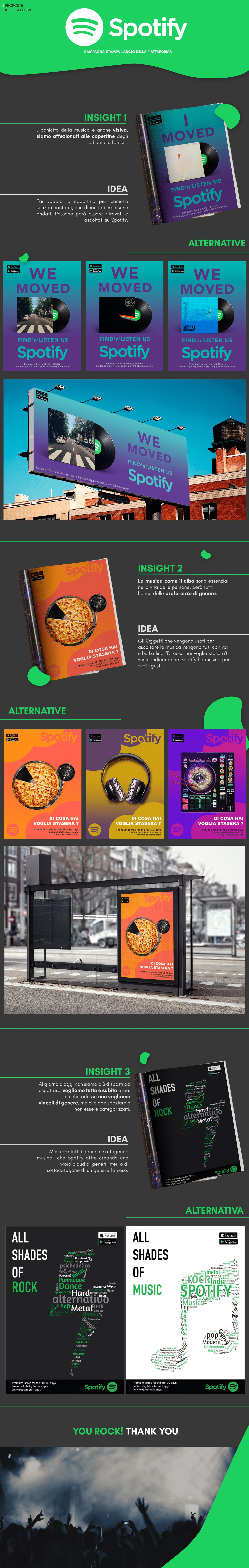 ADV Advertising  art direction  billboard copywriting  creative music paper rock spotify
