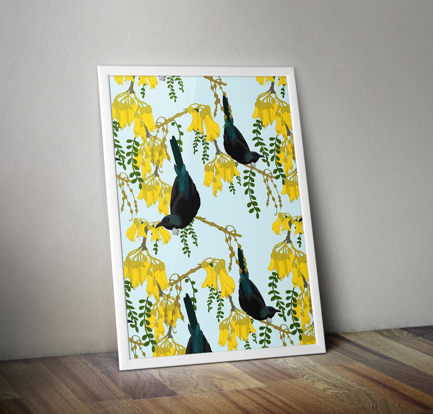 pattern,pattern design ,birds,Tui,New Zealand,kiwi,kiwiana