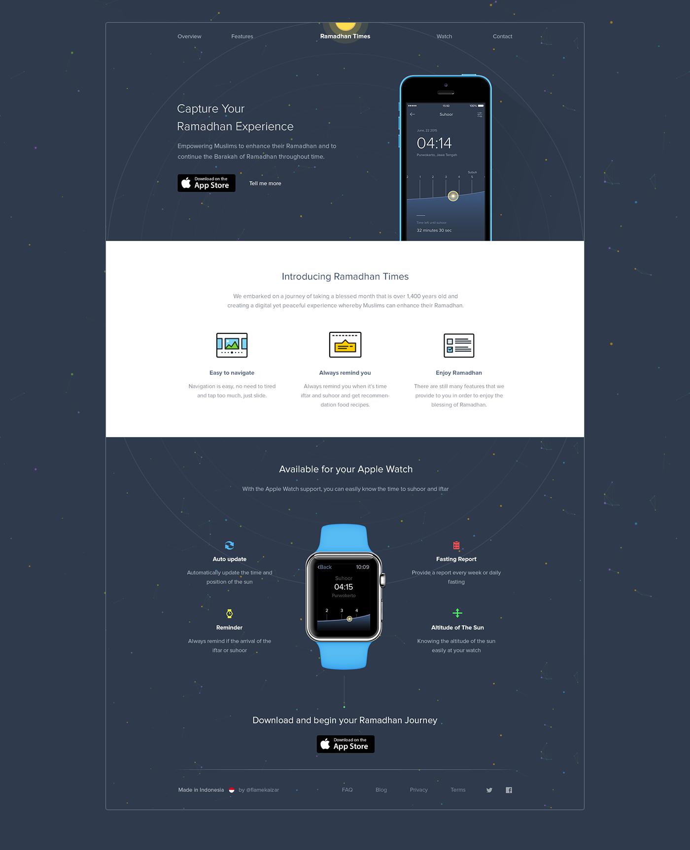 concept Ramadhan application mobile Website landing page flat minimal simple muslim times