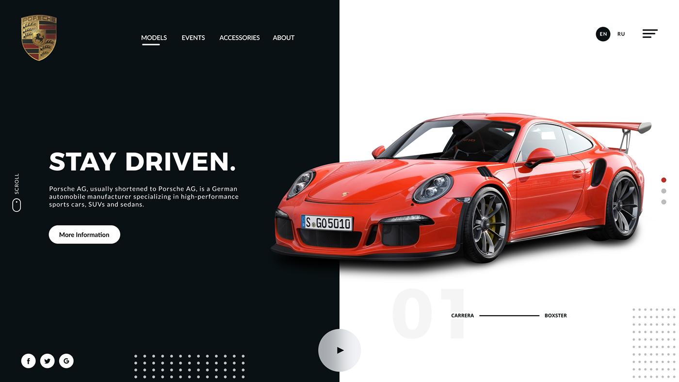 Car Website FERRARI lamborghini Porsche Rish Designs UI ui design ux UX design Web Design
