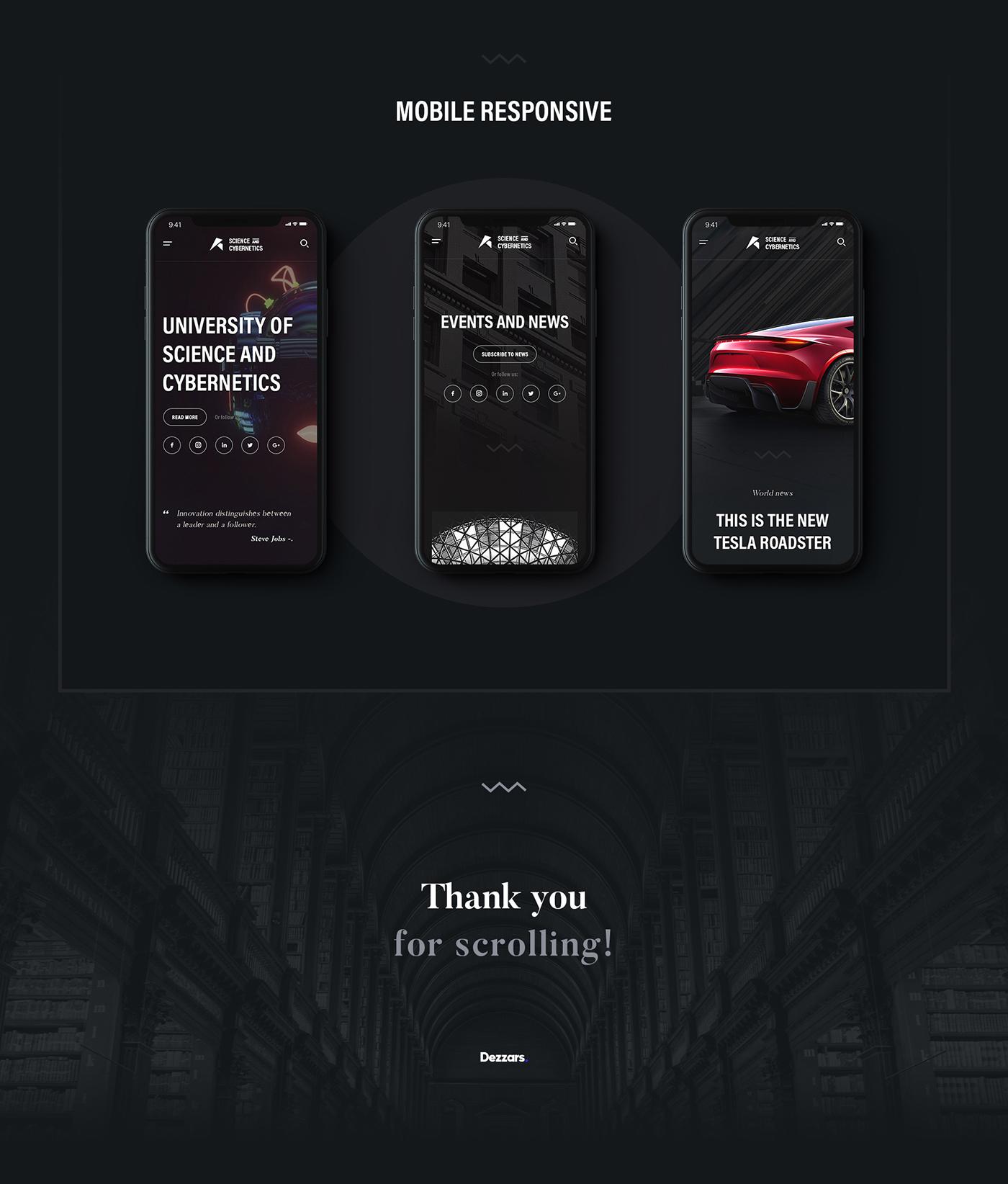 Website landing page uiux University school dark concept interaction typography   uidesign