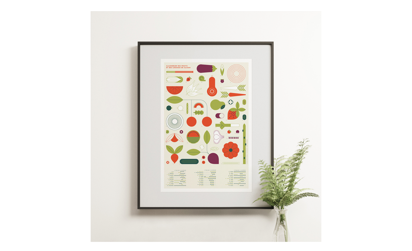 poster fish seafood Fruit vegetable calendar geometric color Icon