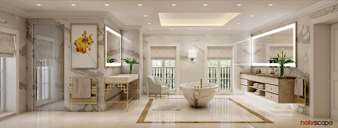 Interior 3D Rendering visualization bathroom