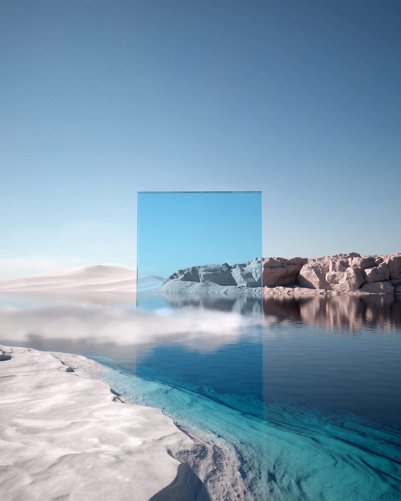 3D c4d CGI geometric Landscape motion redshift water