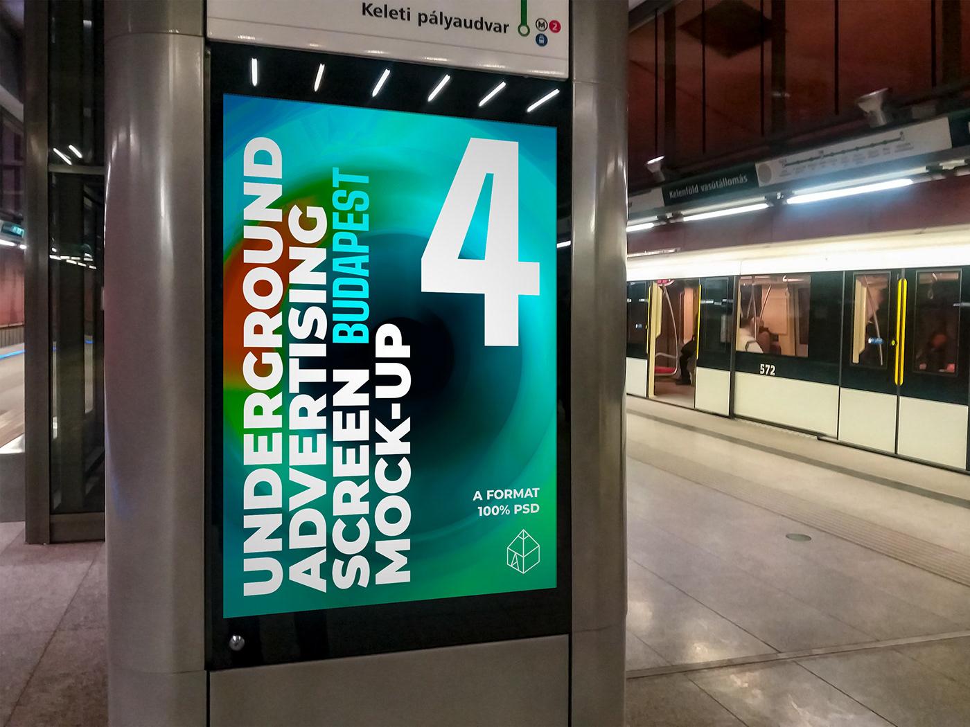 ad Advertising  budapest metro mock-up Mockup STATION train tube underground