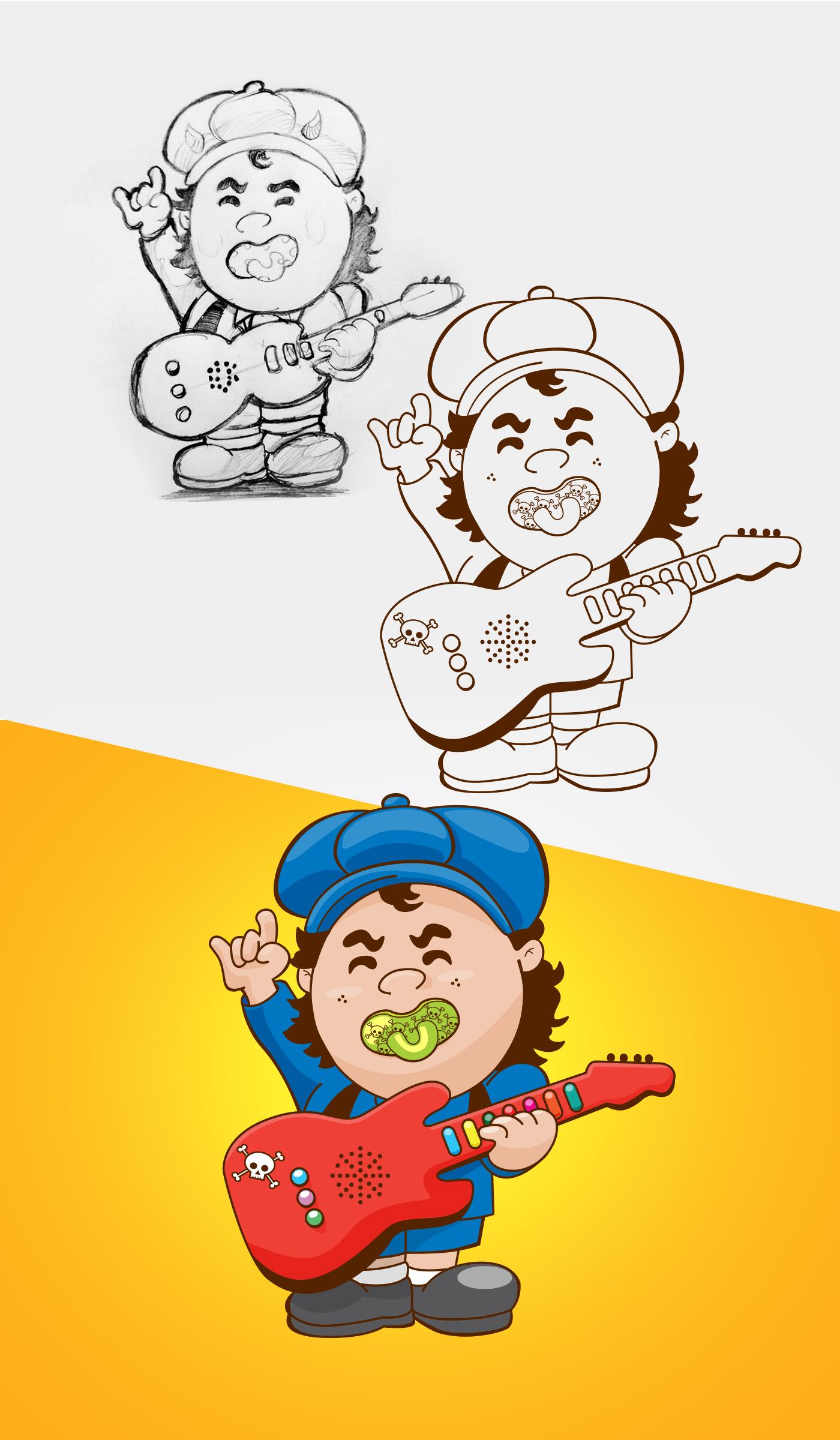ilustration graphic design  social media facebook mídias sociais rock bebê rack and holl posts social networks