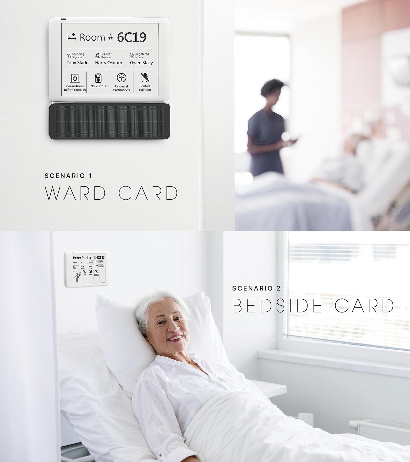 industrial design  medical SMART Hospital product design  healthcare design e-ink display SMART WARD UI ux