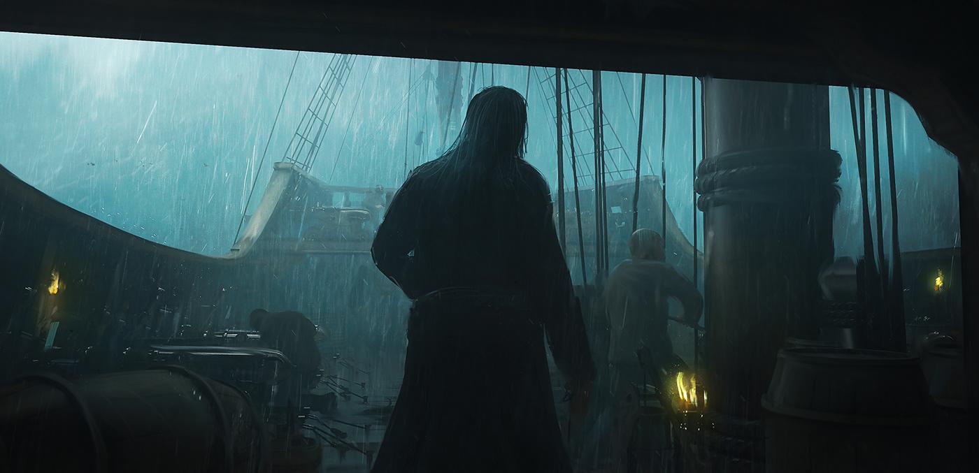 story art design Film   key-art CGI pirate dark exploration discovery