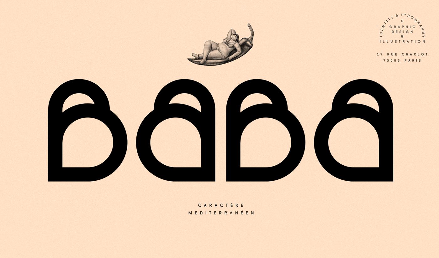 baba typography   font violaineetjeremy restaurant identity Paris mediterranean terracotta Drawing