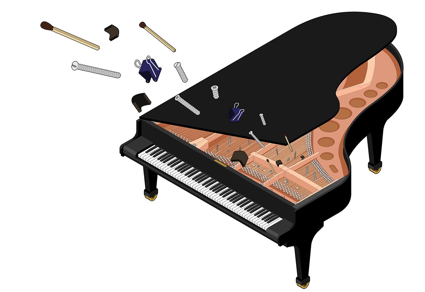 Image may contain: piano, musical keyboard and music