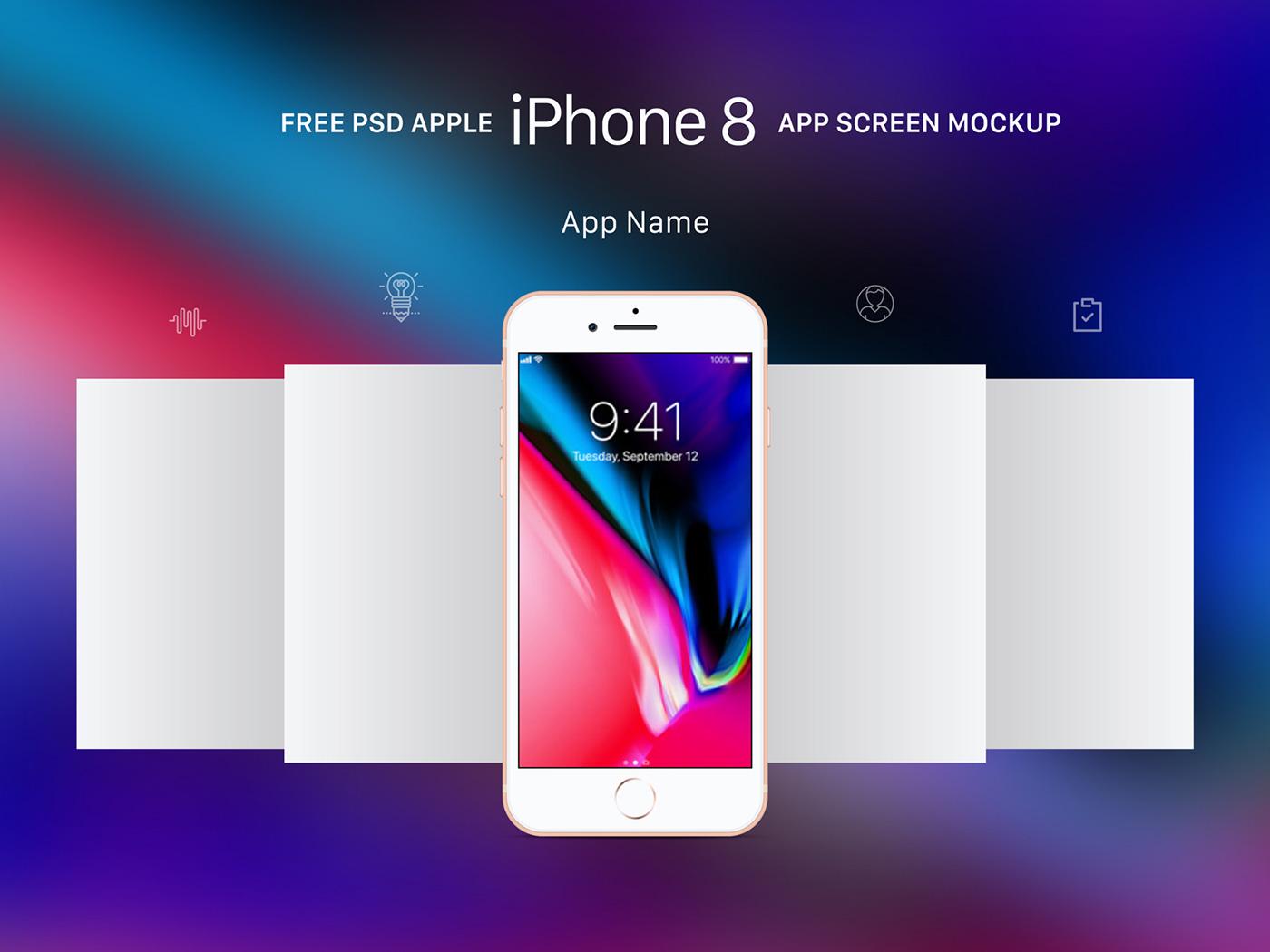 Free Apple iPhone 8 App Screen Mockup PSD on Behance