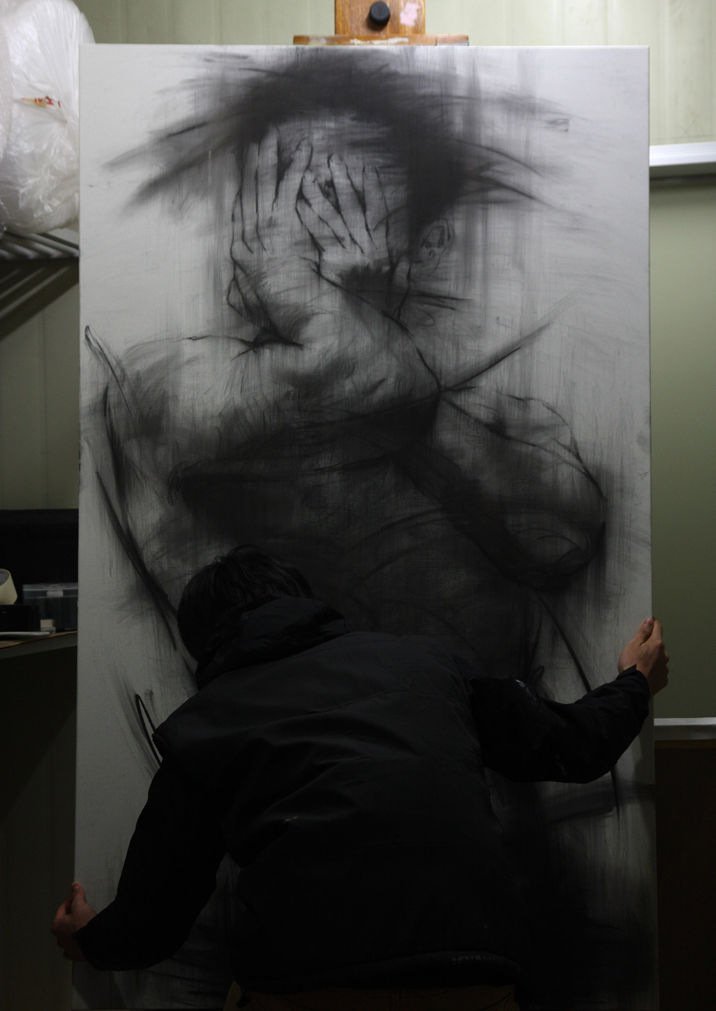 It is an image of Sly Drawing On Canvas