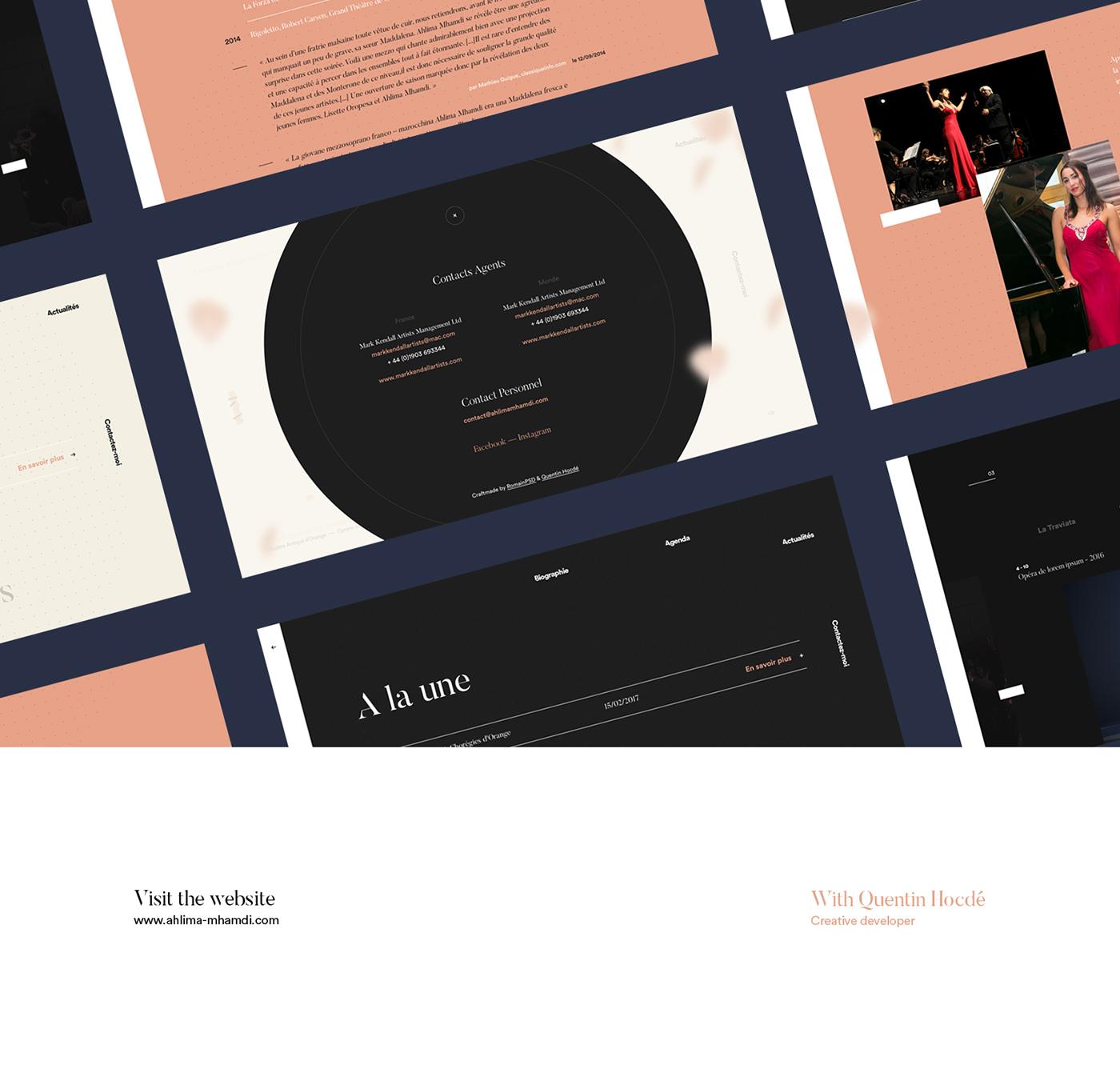 Website mezzo-soprano animation  Singer Transition circle parallax