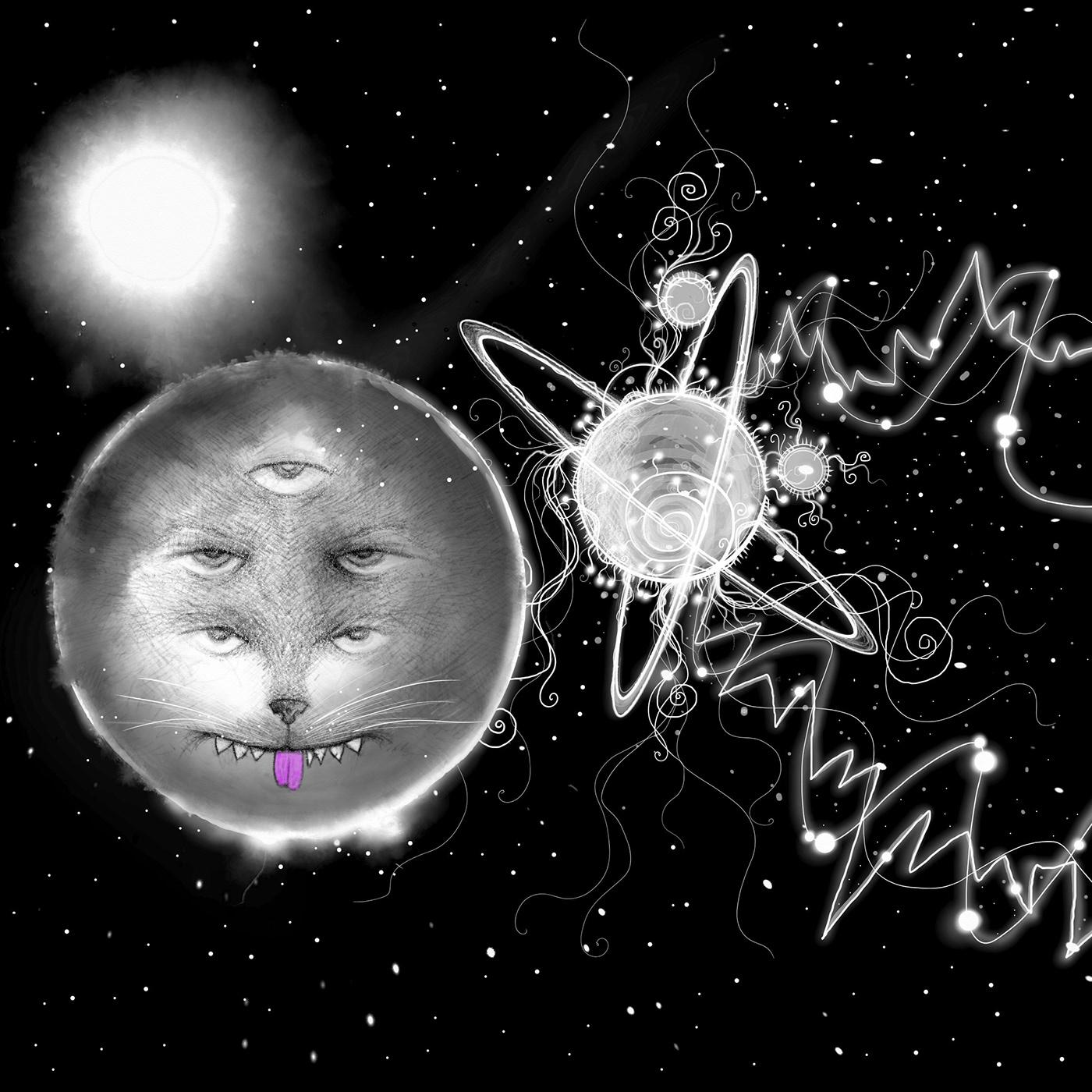 Image may contain: moon, cartoon and art