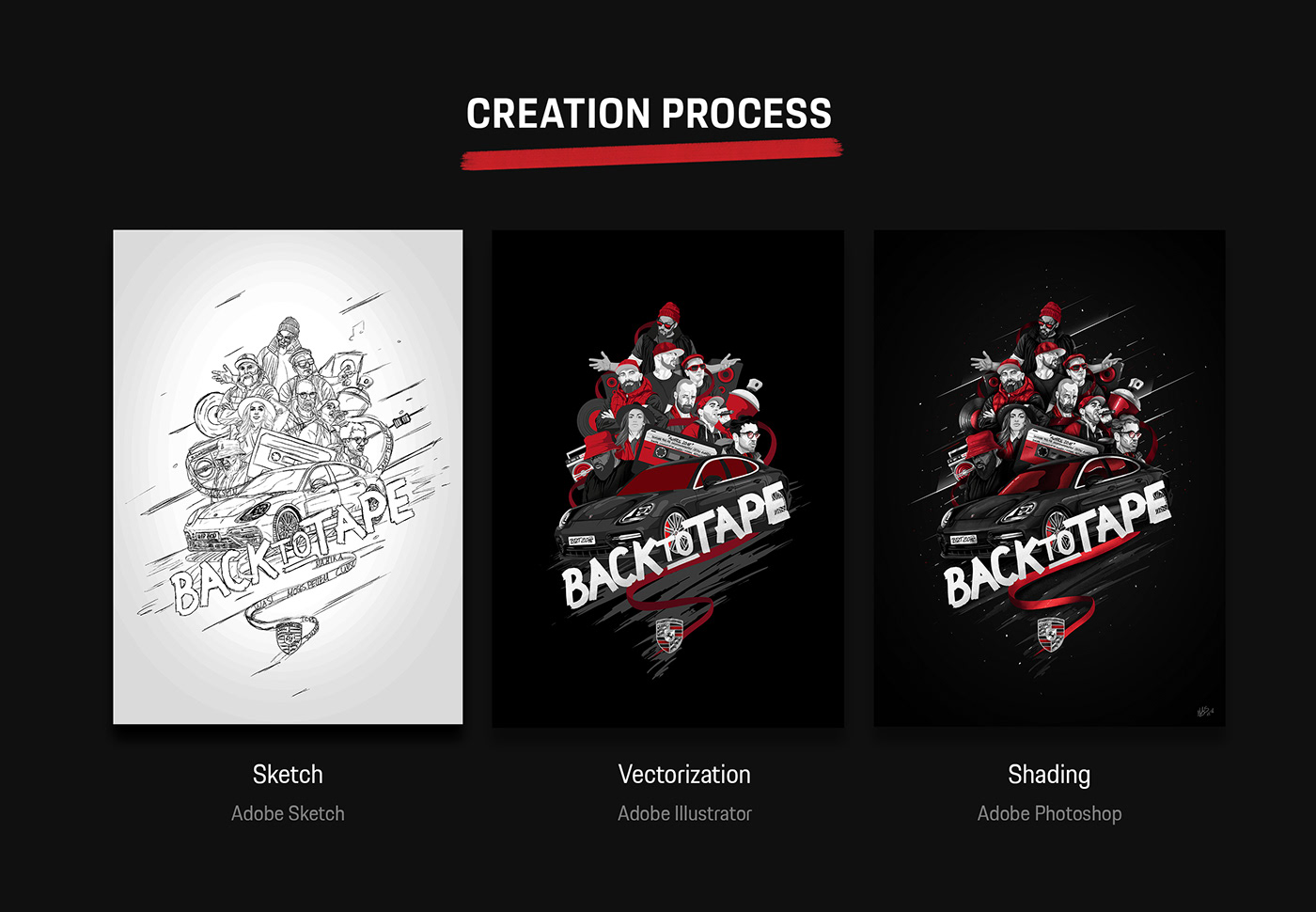 Creation Process from sketch to the final illustration