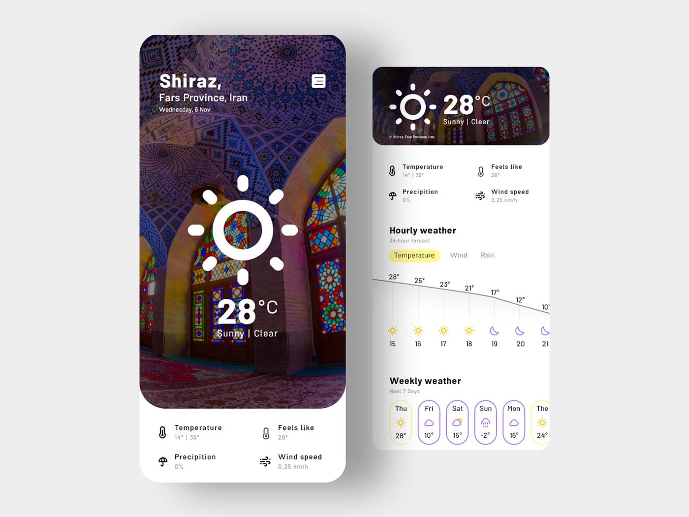 XWeather weather weather forecast app clean minimal Iran ui design uiux رابط کاربری IHMahmoodi