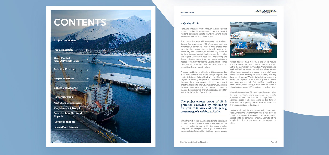 Alaska presentaion grand design design railroad train investing brochure