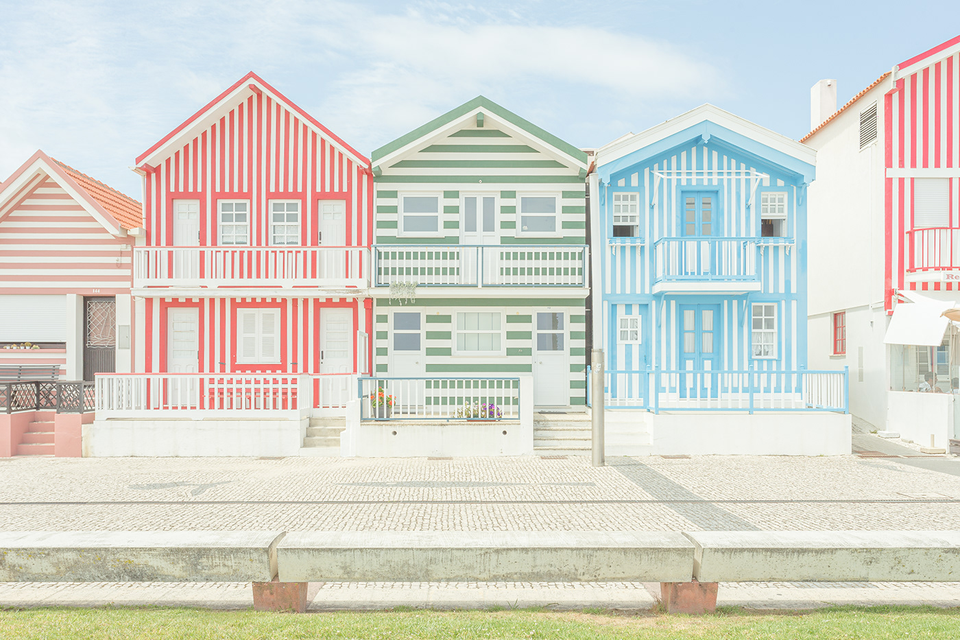 Frontal view of some lovely houses in Costa Nova