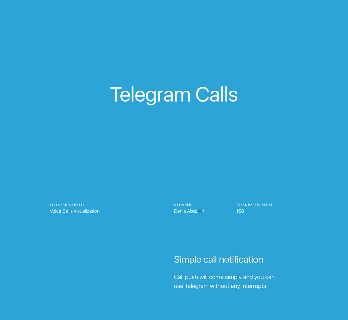 Telegram contest voice calls app UI Notifications concept redesign