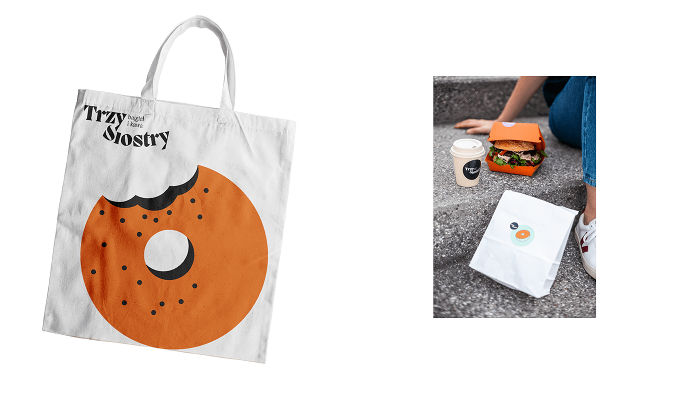 branding  Coffee key visual bagels cafe Food  poster restaurant typography logo