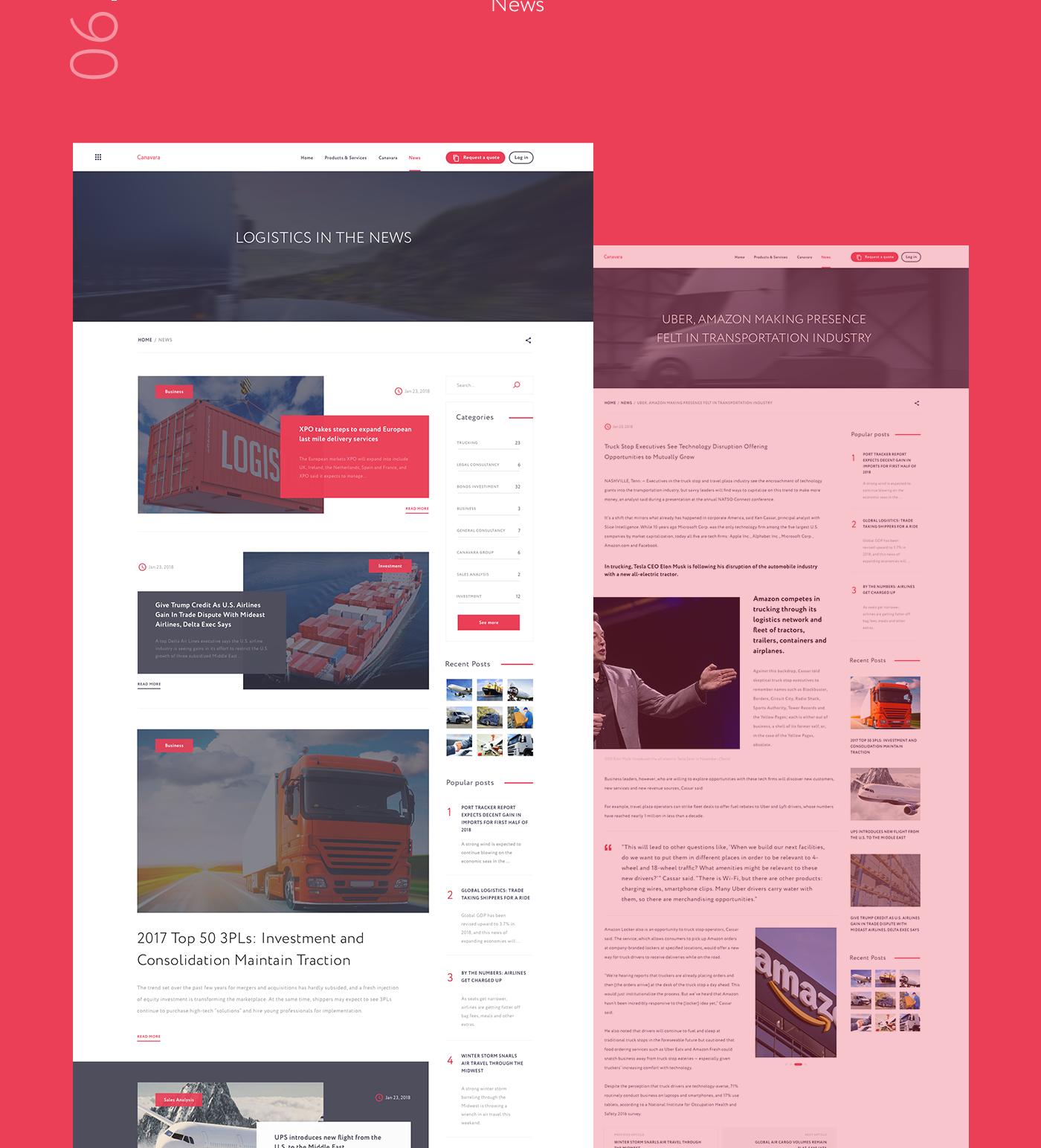 logogistics delivery Transport Website ux minimal