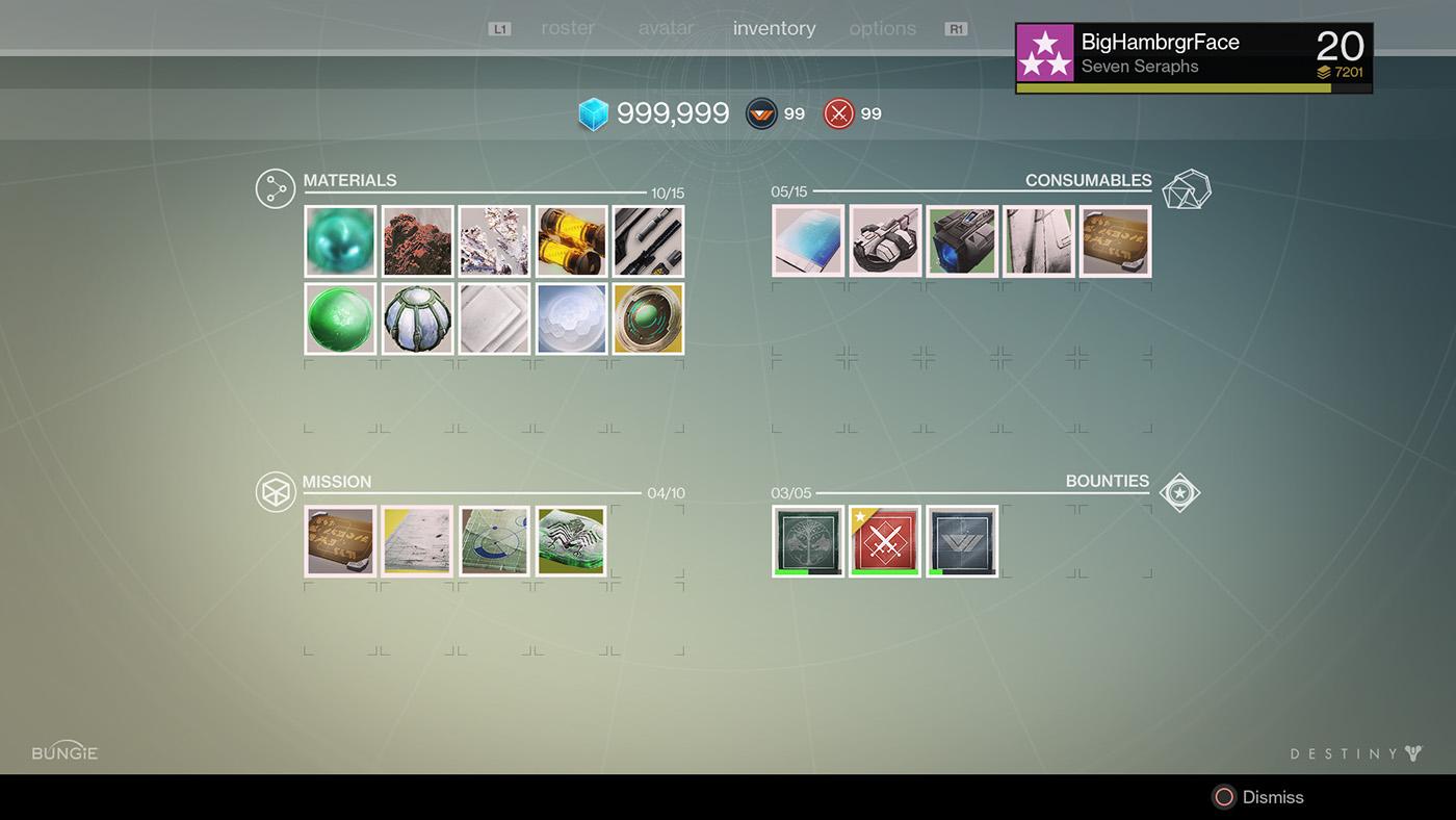 destiny year 1 interface visual design on behance