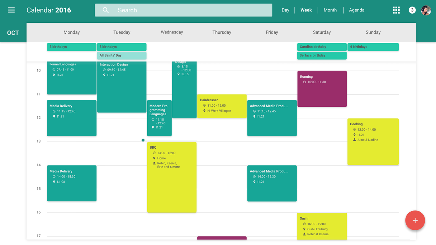 Calendar Design Material : Redesign of google s web calendar material design on behance
