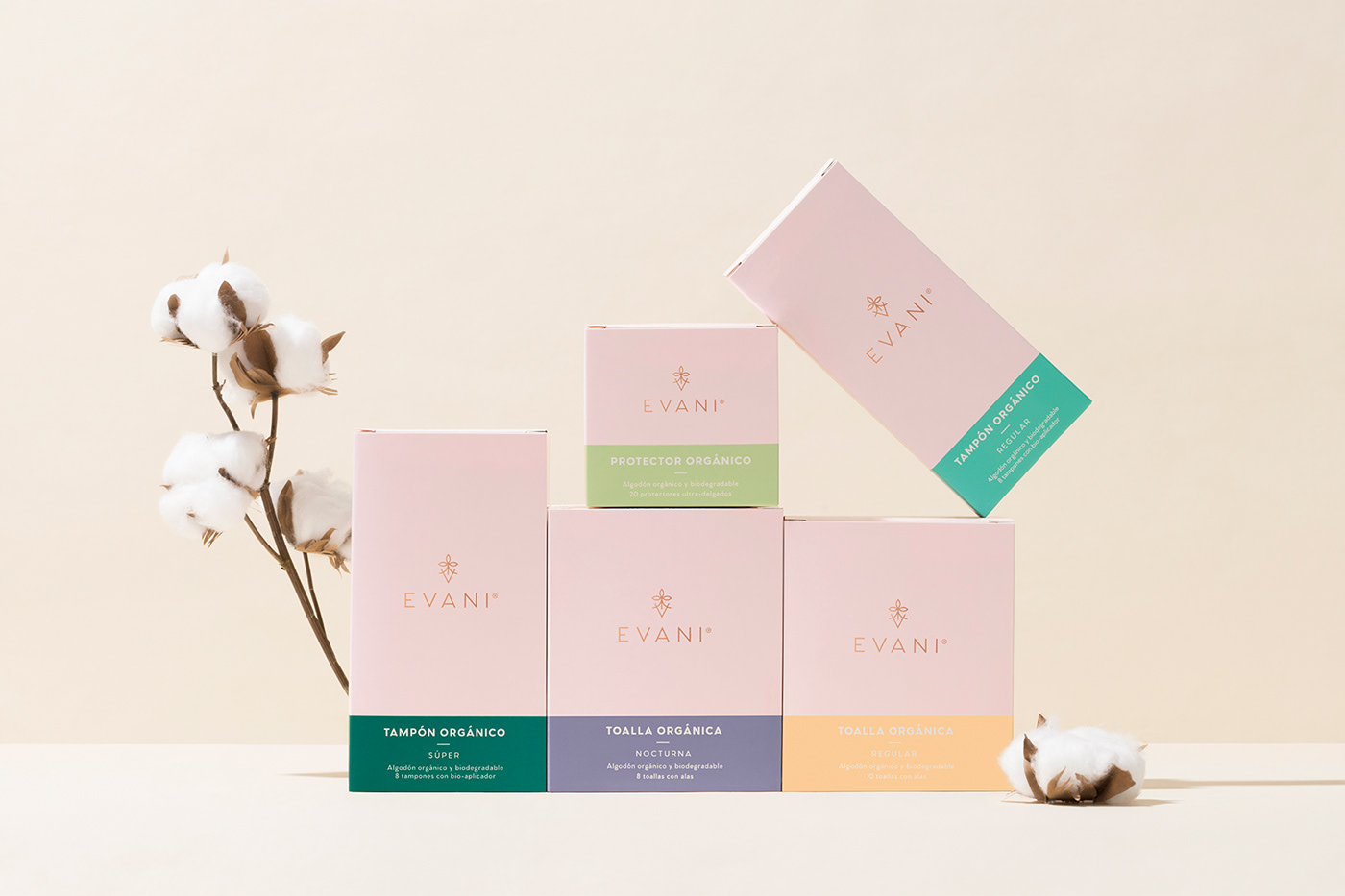 branding  cotton design femenine organic Packaging pads product Sustainable tampons
