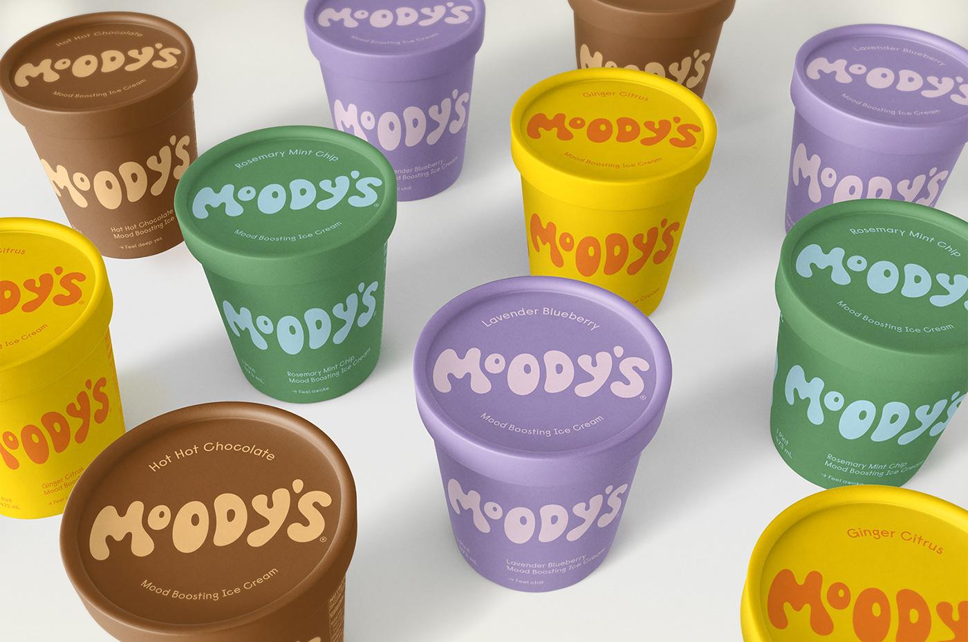 Moody's ice cream branding and packaging design by Abby Haddican Studio.