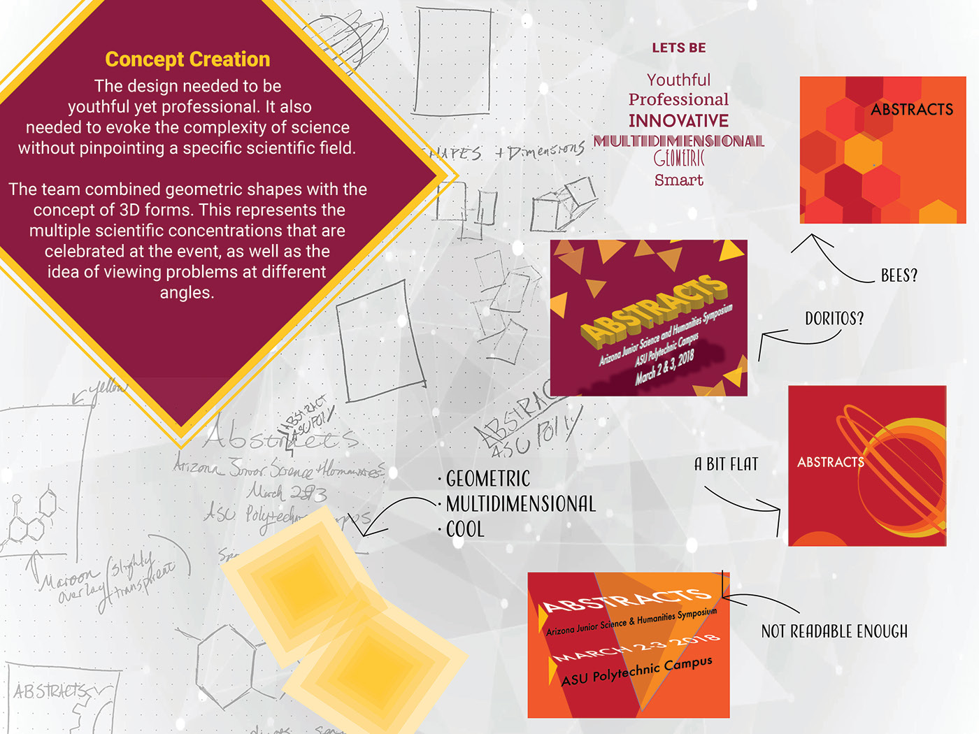 Event Branding science Education ASU geometric trophy Way Finding Booklet GIT-Awards-S18